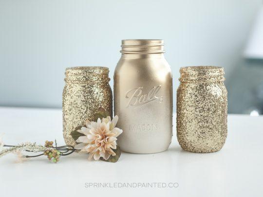 Gold mason jars.