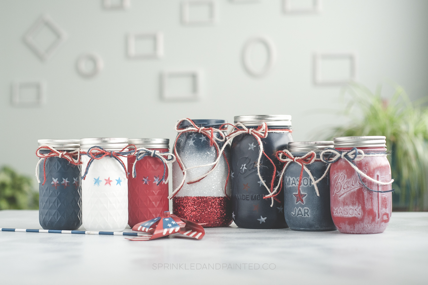 4th of july mason jar centerpiece vases.
