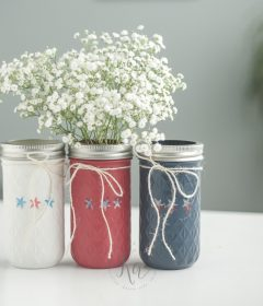 Red, White and Blue Mason Jars for July 4th and Labor Day