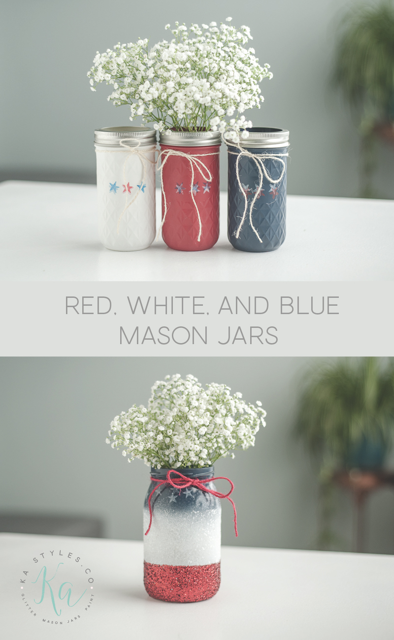 Red, white and blue decor for July 4th, Memorial Day or Labor Day.