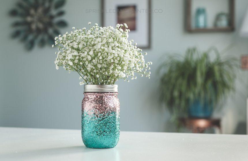 Ombre Glitter Mason Jars