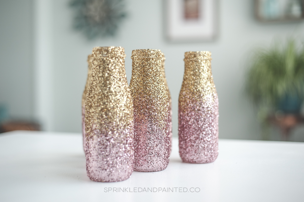 Pink and gold ombre glitter vases.