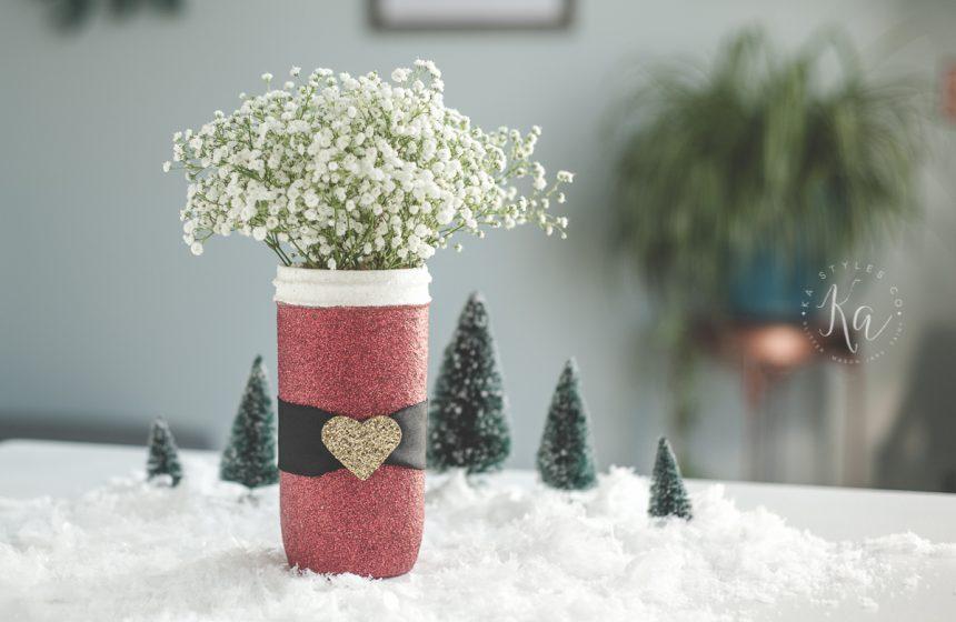 Glitter Santa Mason Jars
