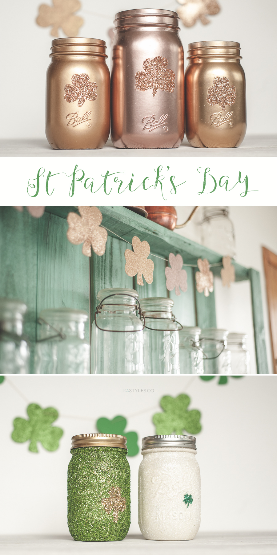 St Patricks day Mason jars and garland.