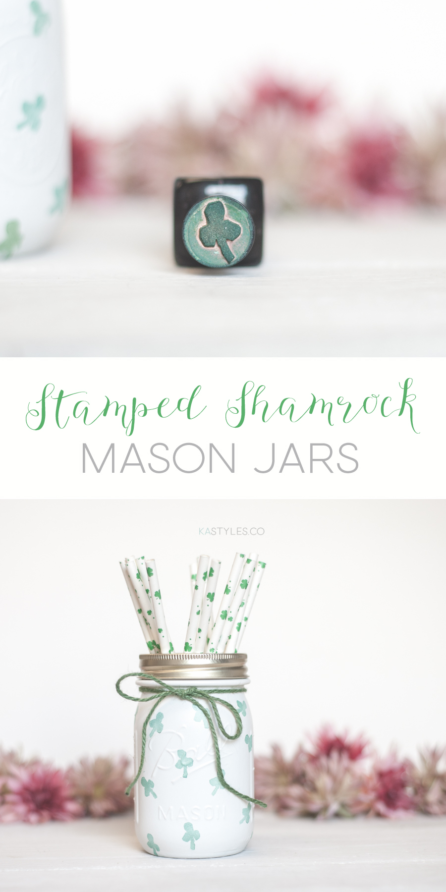 Shamrock stamped mason jar decor.