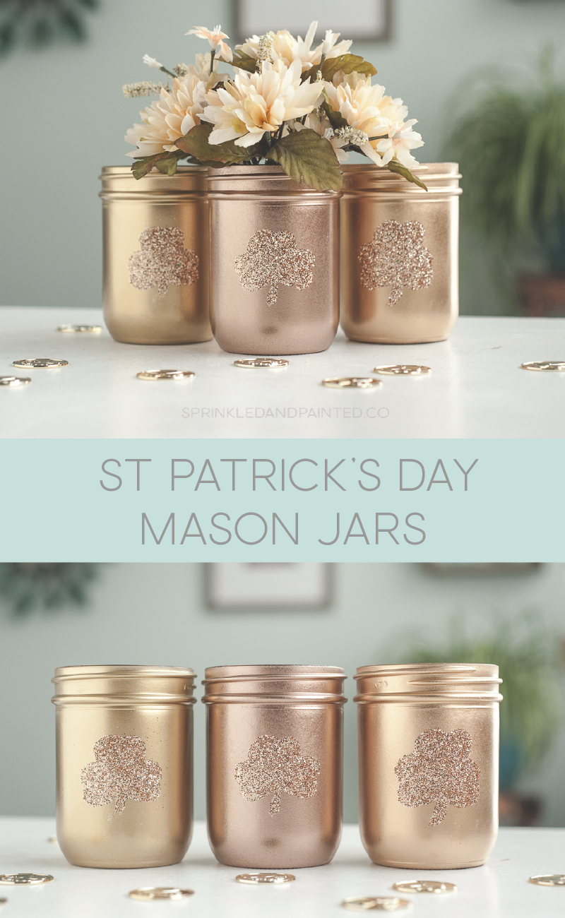 St Patrick's Day shades of gold decor vases.
