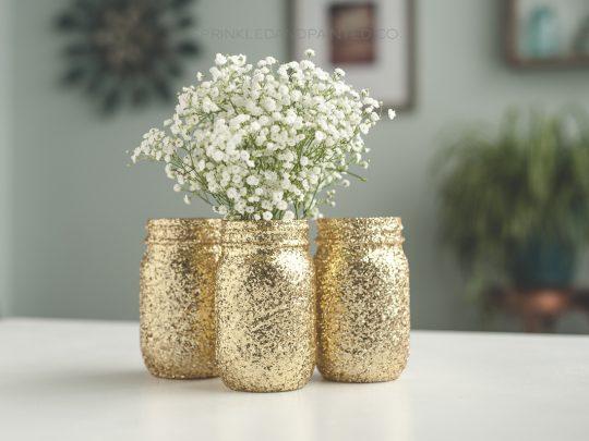 Gold glitter mason jar vases