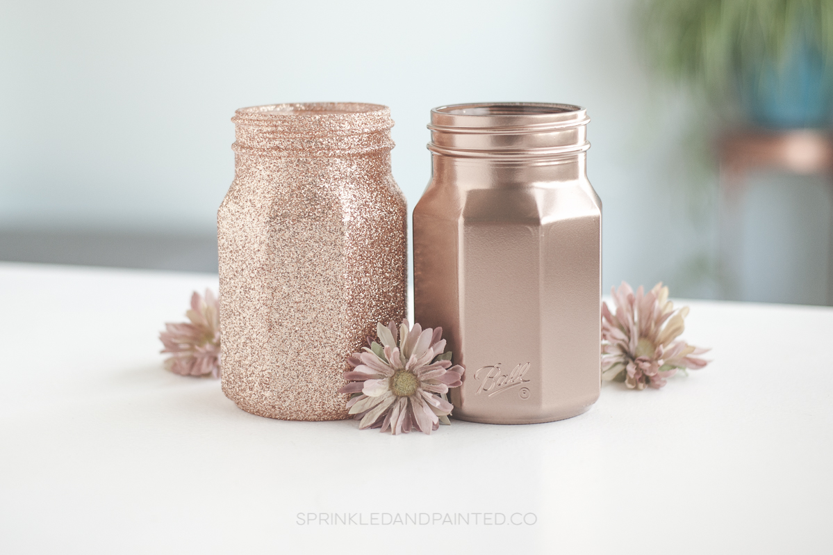 Rose gold vases mason jars.