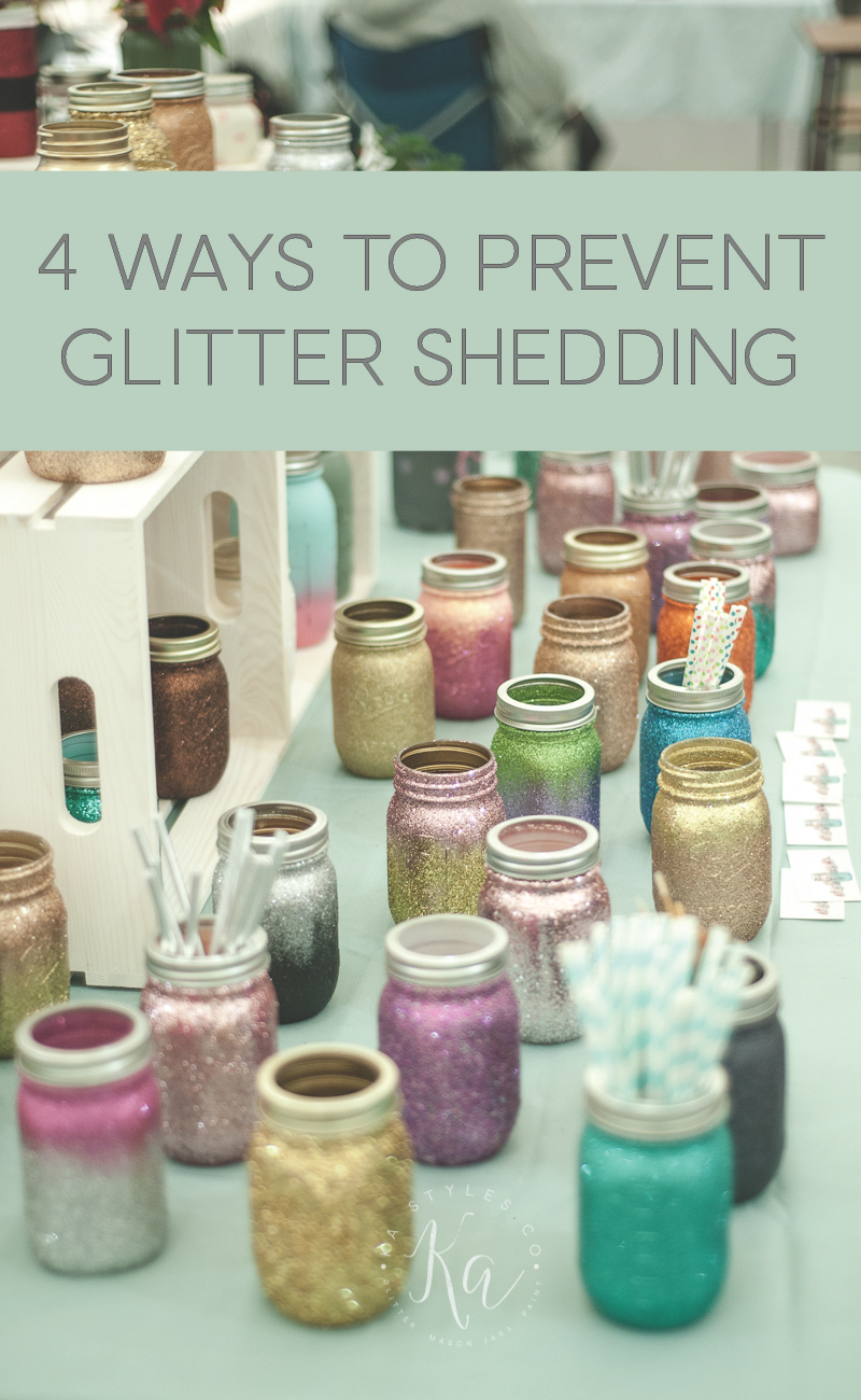 Ways to prevent glitter shedding on crafts projects.