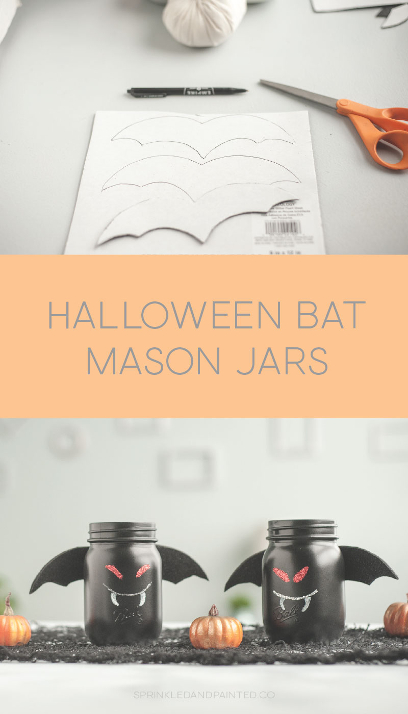 DIY Bat mason jar for Halloween.