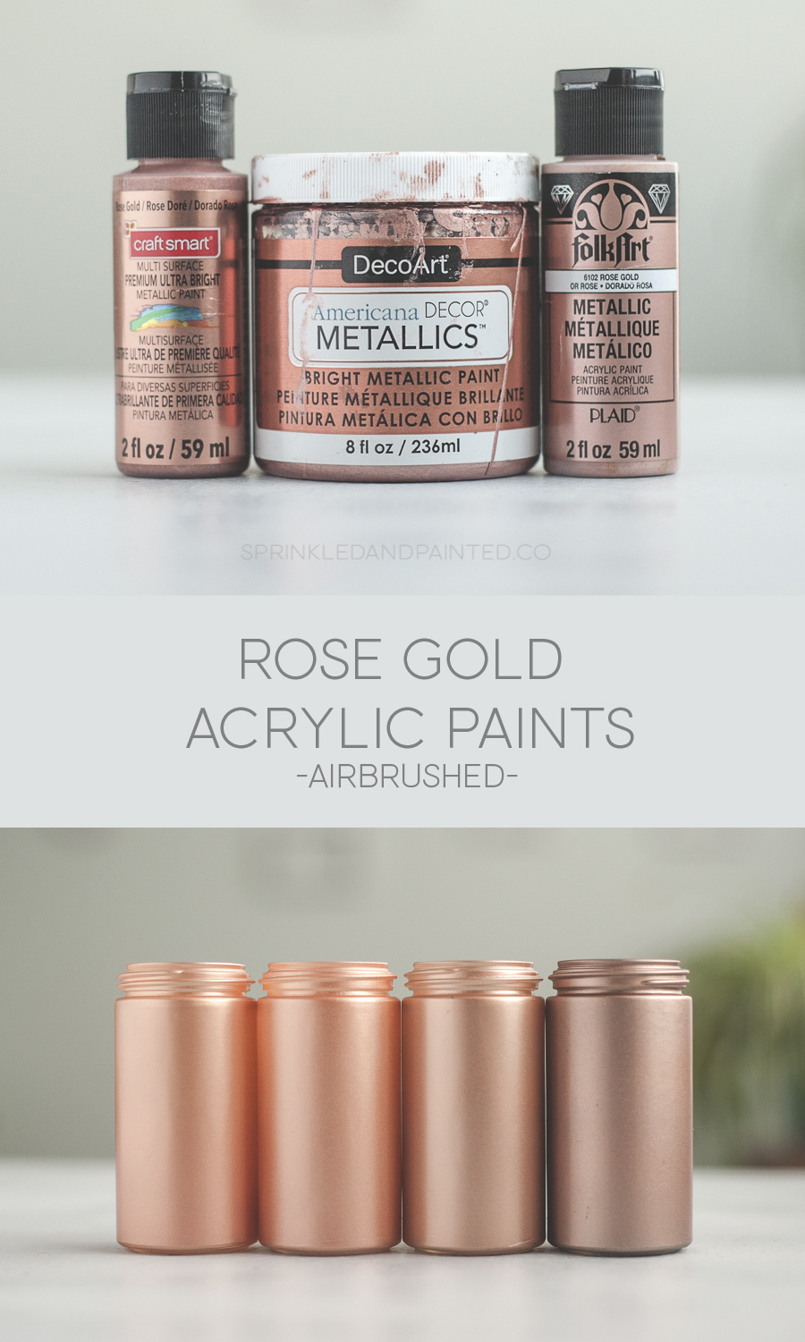 Rose gold acrylic paints for airbrushing.