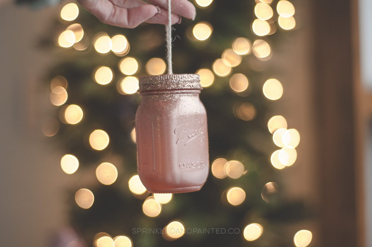 Rose gold mason jar ornament
