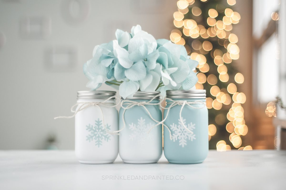 Aqua and white Christmas mason jar decor