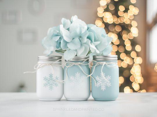 Aqua and white Christmas mason jar decor