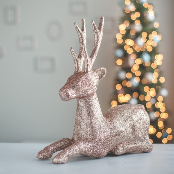 DIY Rose Gold Glitter Reindeer