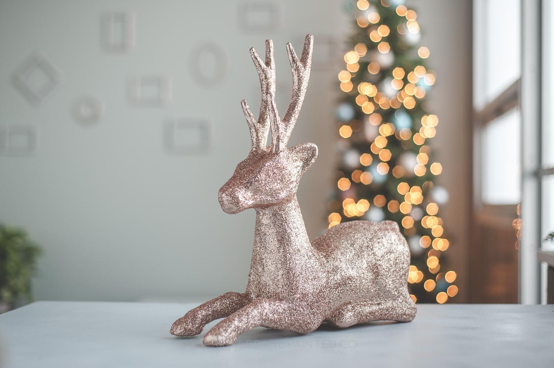 DIY Rose Gold Glitter Reindeer