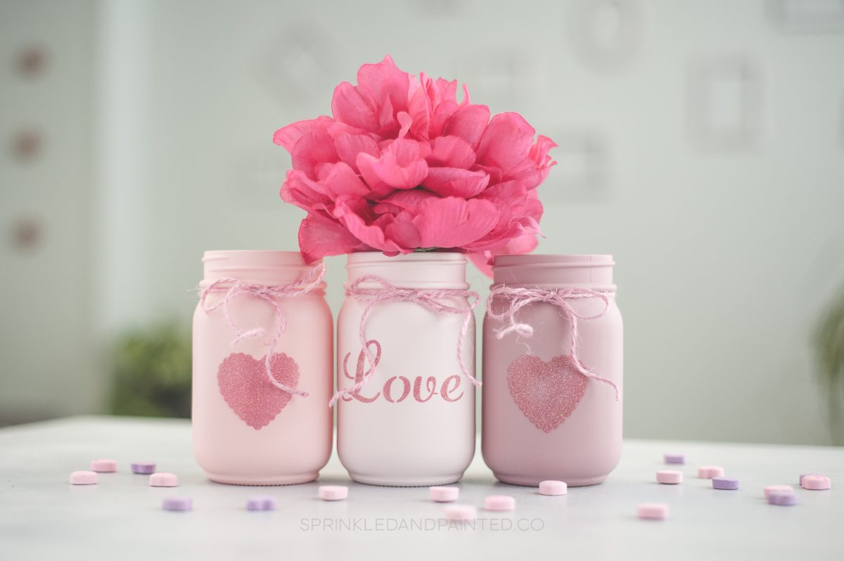 Painted mason jar Valentines Day vases