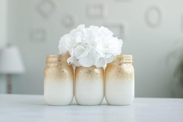 Gold wedding vases