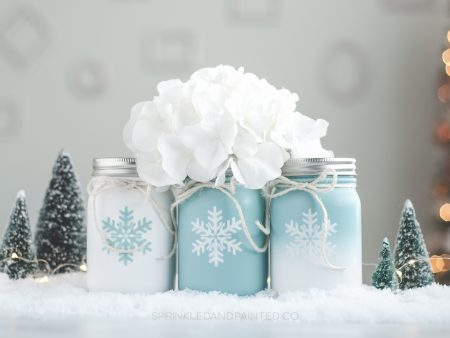 snowflake mason jar holiday decor
