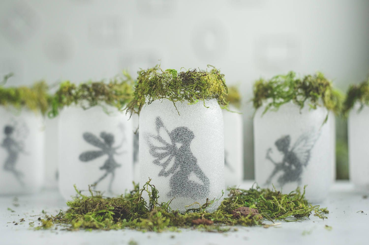 Glitter Fairy Mason Jars with Moss