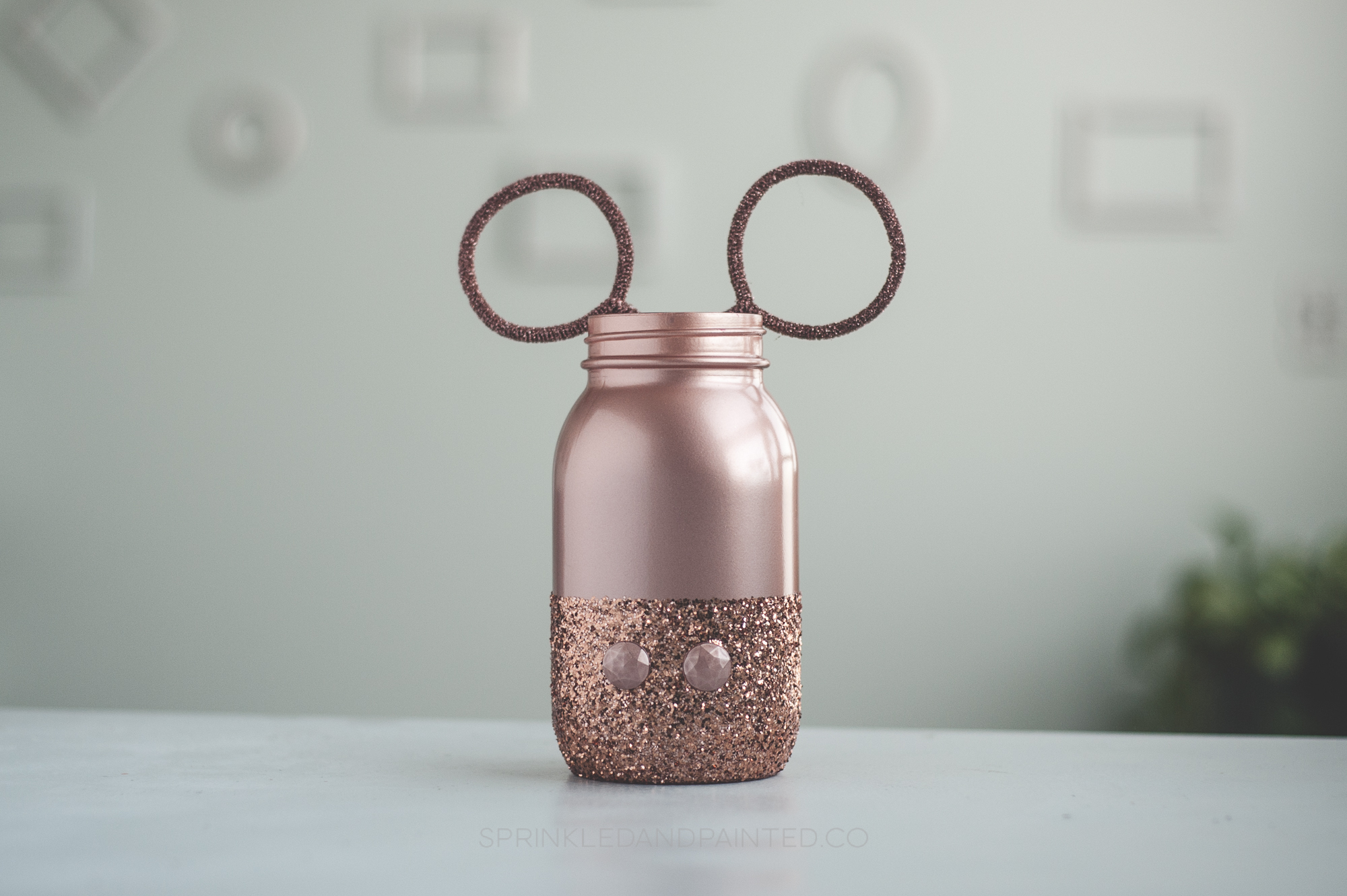 Rose Gold Mickey Mouse Mason Jar