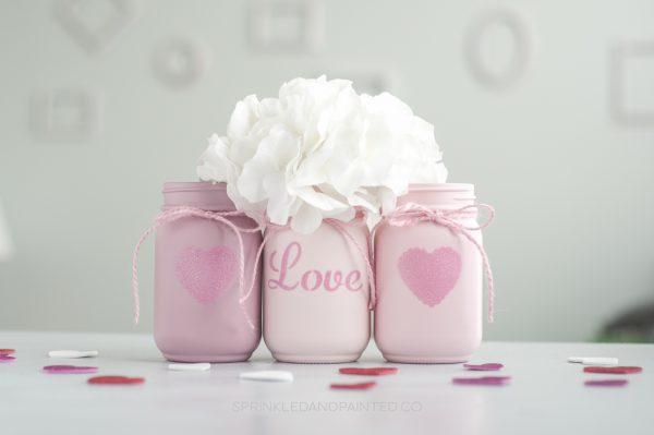 Valentines Day decor vases