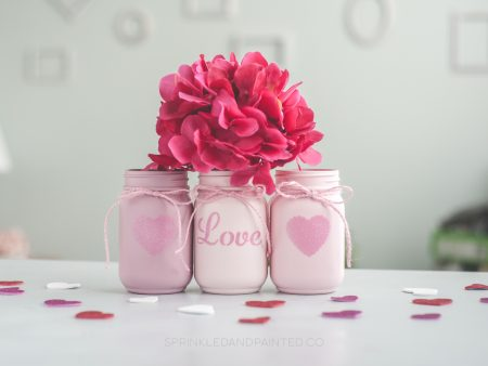 Valentines Day decor vases