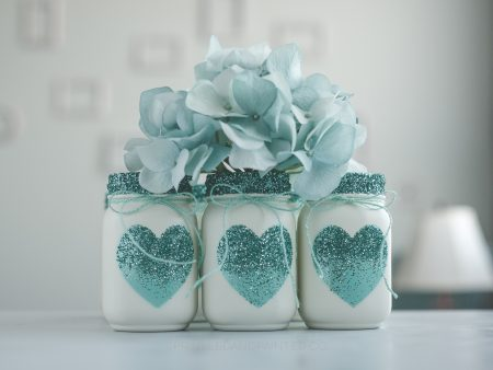 Aqua heart and glitter decor vases