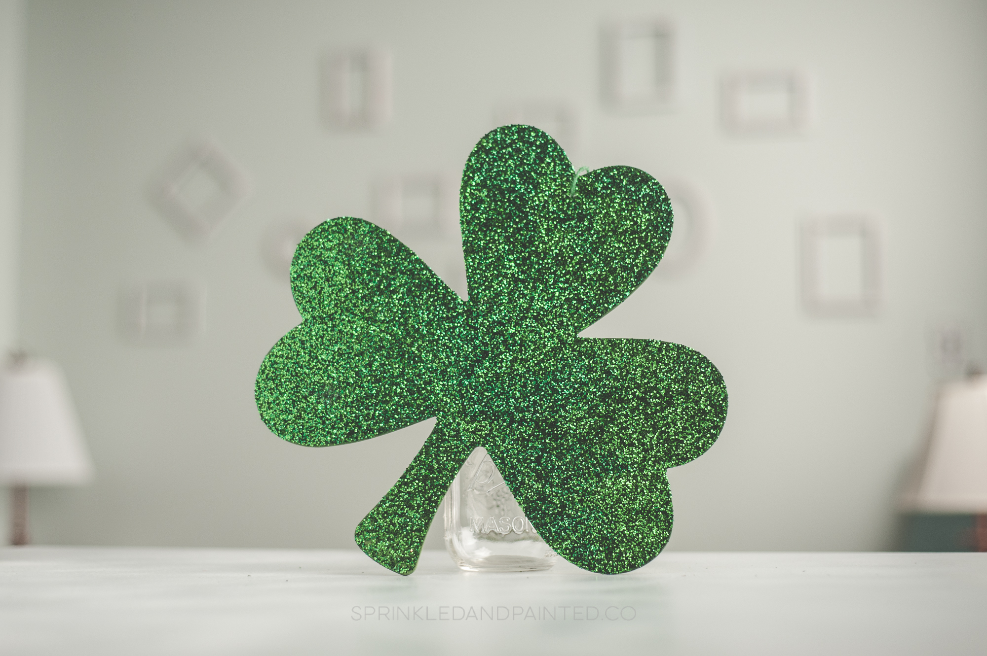 Gliiter shamrock decor, St Patrick's Day, Irish Decor
