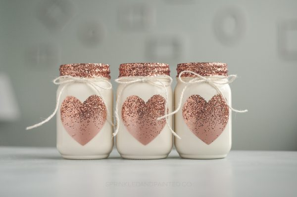 Rose gold heart jar, weddings and Valentines day
