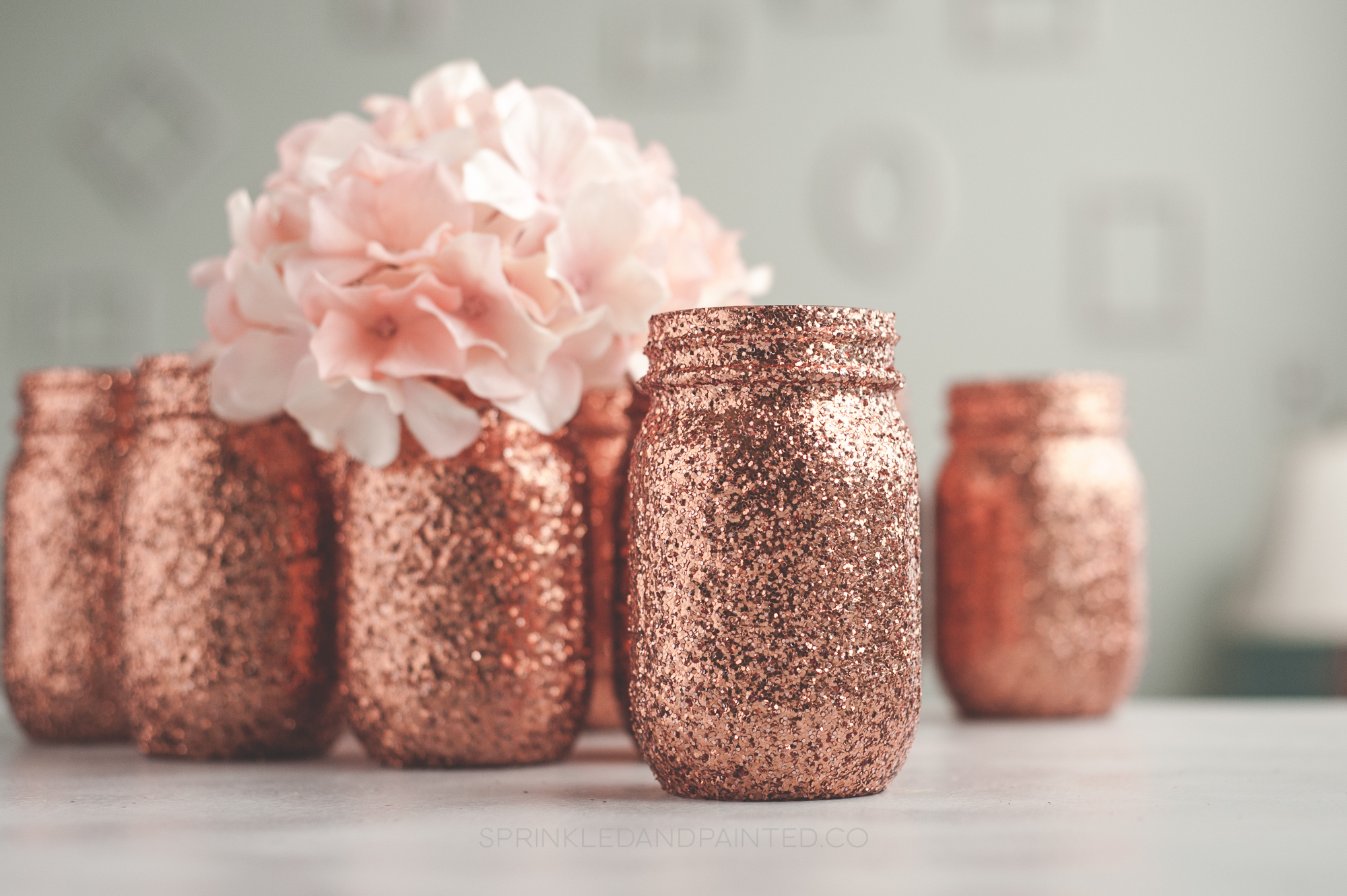 12 Rose Gold Glitter Vases Sprinkled And Painted At Ka Styles Co