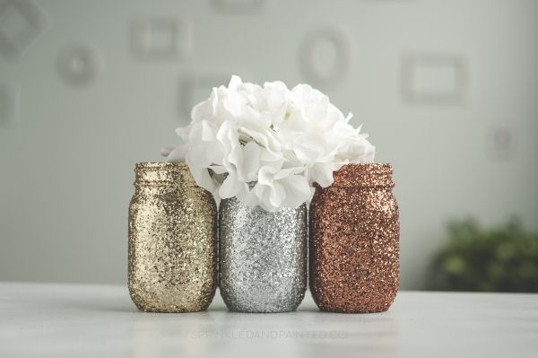 copper, gold and silver vases.