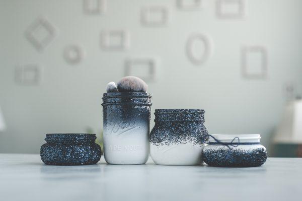 Navy blue and white mason jar organizer