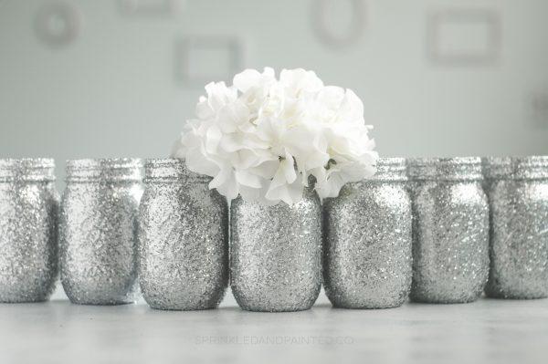 12 Silver glitter mason jar vases