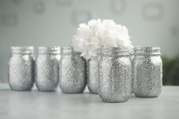 Silver glitter mason jar vases