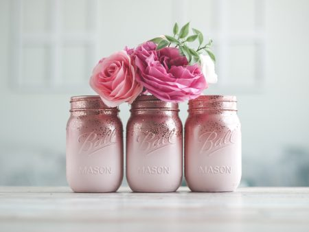 pink and rose gold wedding vases