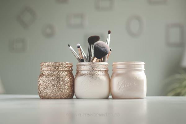 champagne vanity mason jar organizer