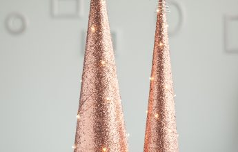 DIY rose gold cone trees