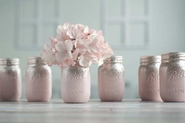 Pink and champagne vases